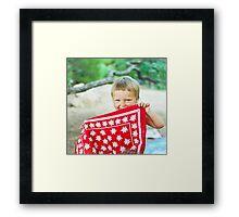 playful Dana hides her face behind the bandanna Framed Print