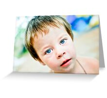 portrait little boy with blue eyes Greeting Card