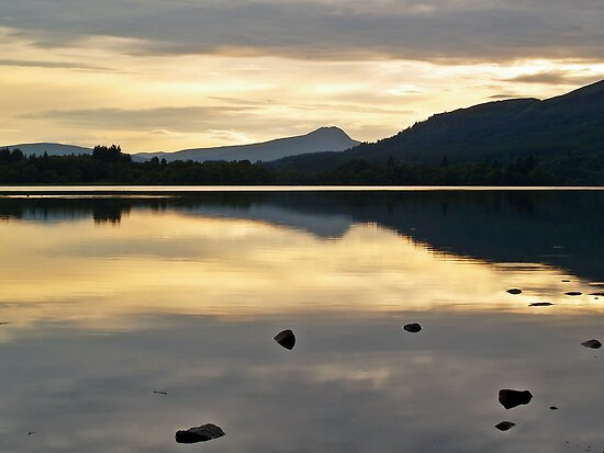 Dusk At Lake Menteith, Scotland. by Aj Finan