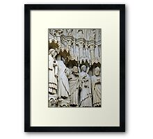 Statues, exterior, Amiens cathedral, France Framed Print