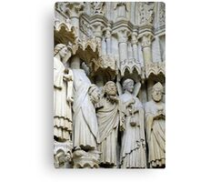 Statues, exterior, Amiens cathedral, France Canvas Print