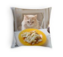 cat sitting at the laid table Throw Pillow