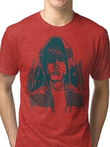 Striped Hoodie Tri-blend T-Shirt