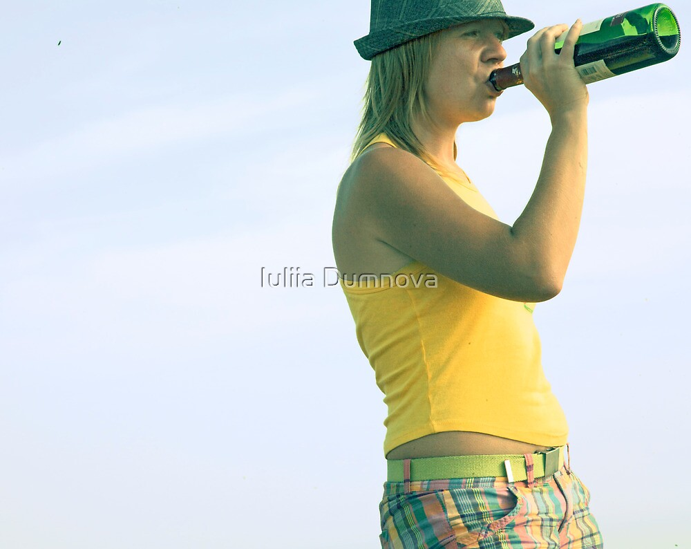 girl drinks wine from a bottle by Iuliia Dumnova