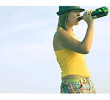 girl drinks wine from a bottle Photographic Print