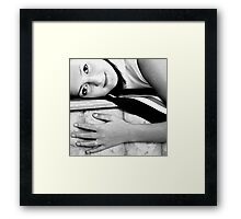 black and white portrait of a girl Framed Print