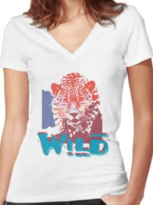Wild nature 1 Women's Fitted V-Neck T-Shirt