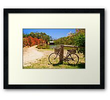 A bicycle in Hahndorf, Adelaide Hills Framed Print