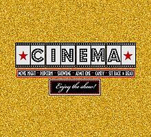 Movie Theater Cinema Film Throw pillow-Gold by littlebeane