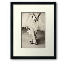 Ballerina Toes, Black & White- Little Girl in a Tutu Framed Print