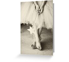 Ballerina Toes, Black & White- Little Girl in a Tutu Greeting Card