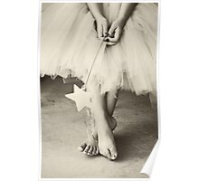 Ballerina Toes, Black & White- Little Girl in a Tutu Poster