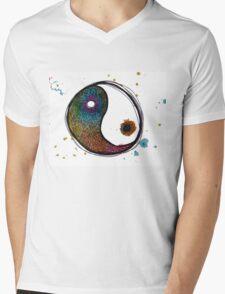 Rainbow Yin Yang Mens V-Neck T-Shirt