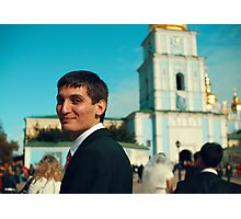 Portrait of a guy in the background of St. Sophia's Cathedral Photographic Print