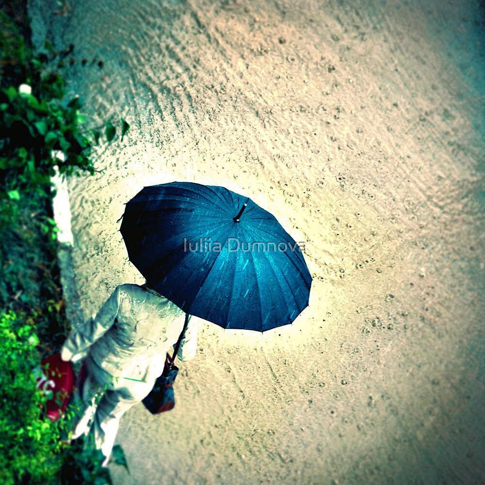 Blue Umbrella by Iuliia Dumnova