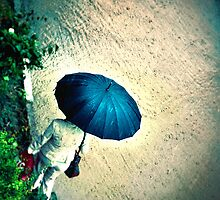 Blue Umbrella by Iuliia Dumnova