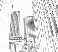 drawn buildings by Cheryl Dunning