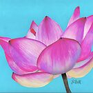 "12"" x 9"" Oil & Colored Pencil, Pink Lotus - Sunlit Open Water Lily - Commission I accepted by Laura Bell"
