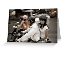 Vietnam.  Scooter couple Greeting Card