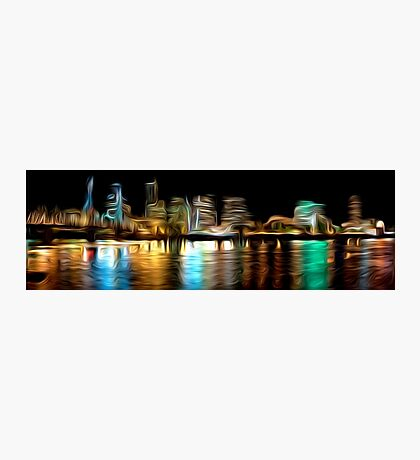 Portland Oregon Nightscape Abstract Oil Painting Photographic Print