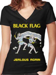 Black Flag - Jealous Again Women's Fitted V-Neck T-Shirt