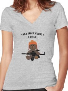 Cuddly Jayne - different font Women's Fitted V-Neck T-Shirt