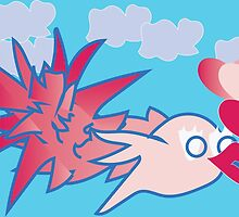 Pink Love Bird Soaring Above Clouds by QuirkyHeartmade