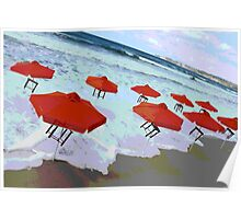 Umbrellas & Tables dancing on the beach Poster
