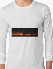 Panorama of a silhouette tree at dusk. Long Sleeve T-Shirt