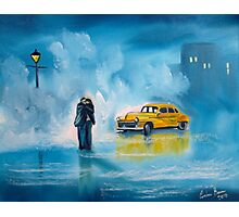 The reunion RAINY DAY COUPLE YELLOW TAXI CAB  Photographic Print