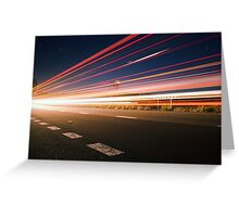 Light trails at night with flare Greeting Card