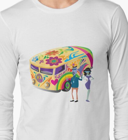 Psychedelic Vehicle & Beatniks Long Sleeve T-Shirt