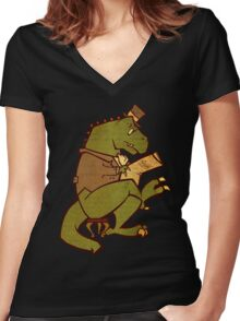 Gentleman T-Rex Women's Fitted V-Neck T-Shirt