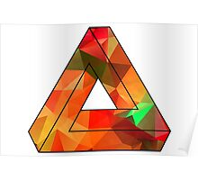 Red Penrose Triangle Polygon Art Poster