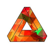 Red Penrose Triangle Polygon Art Photographic Print