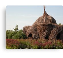 Human Bird Nest surrounded by Raspberry Wine Flowers Canvas Print
