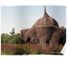 Human Bird Nest surrounded by Raspberry Wine Flowers Poster