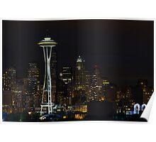 Seattle Skyline After Dark Poster