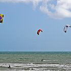 trio of kite surfers by paul erwin
