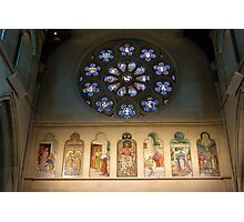 Christchurch Cathedral window and frieze Photographic Print