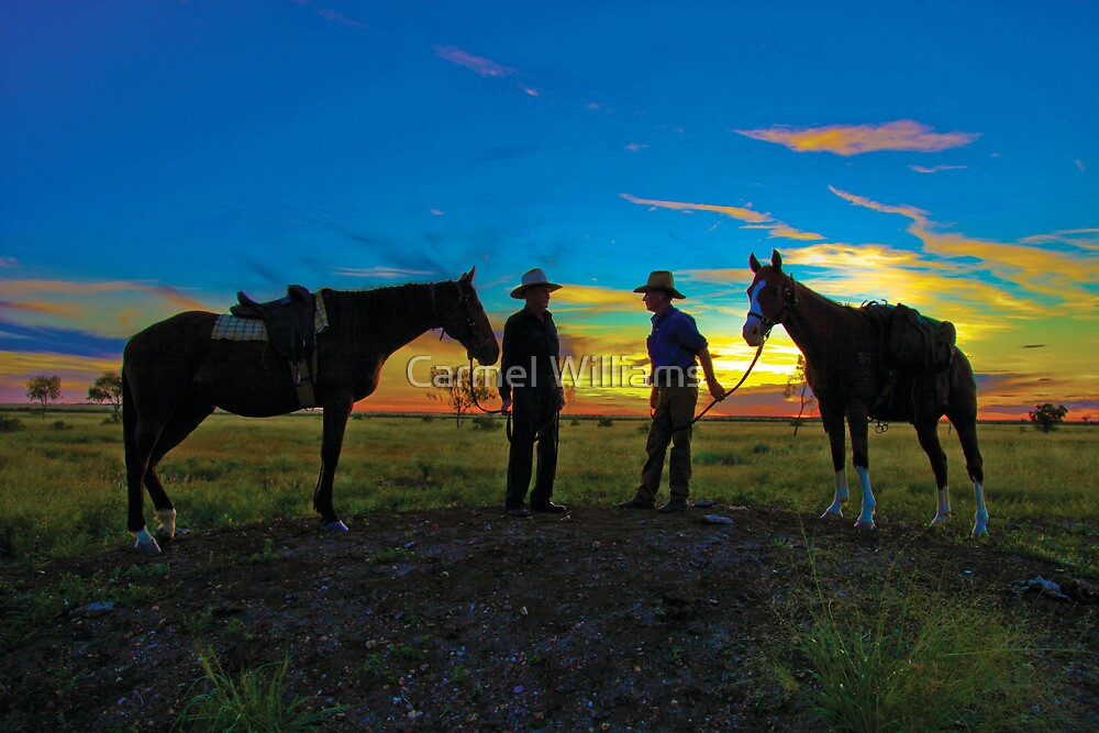Drovers at Sunset - Camooweal by Carmel Williams