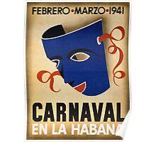 Havana Carnival Vintage Travel Poster Restored Poster