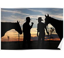 Drovers at Sunset in Camooweal Poster