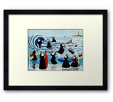 Surfing Sisters Framed Print