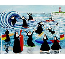 Surfing Sisters Photographic Print