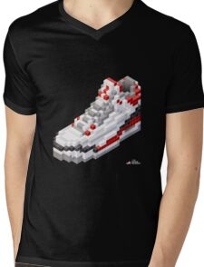 3D 8-bit basketball shoe 3 Mens V-Neck T-Shirt