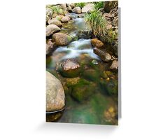 Rocks covered in moss in a creek bed. Greeting Card