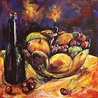 Fruit bowl with wine by christine purtle