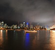 Swing Moorings on Nerang River at Night by Graham E Mewburn