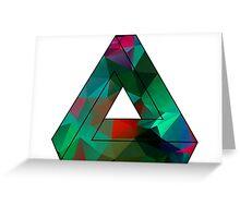Green Penrose Triangle Polygon Art Greeting Card